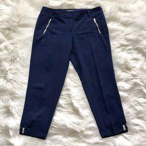 WHBM Navy Blue Satin Zipper Ankle Trouser Pant